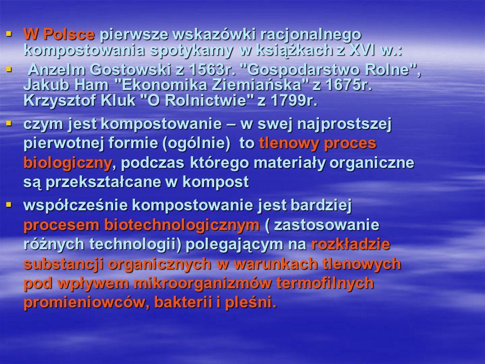 W Polsce pierwsze wskazówki racjonalnego kompostowania spotykamy w książkach z XVI w.: