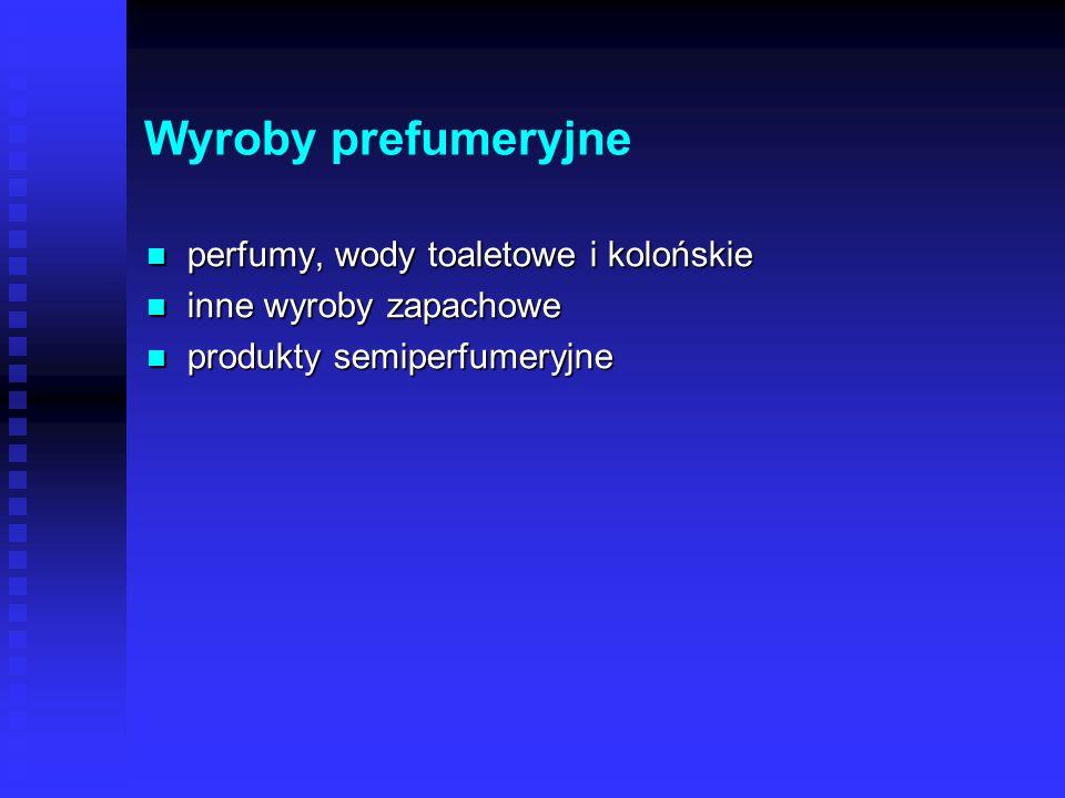 Wyroby prefumeryjne perfumy, wody toaletowe i kolońskie