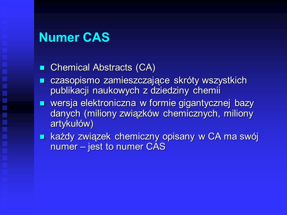 Numer CAS Chemical Abstracts (CA)