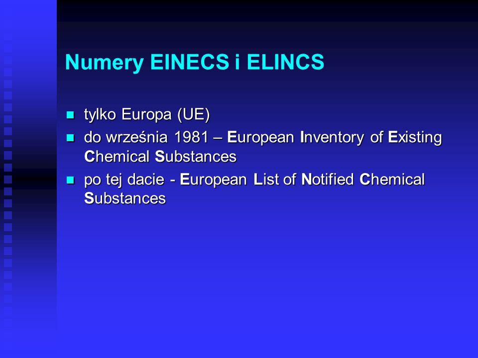 Numery EINECS i ELINCS tylko Europa (UE)