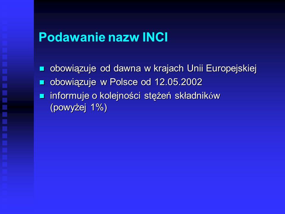 Podawanie nazw INCI obowiązuje od dawna w krajach Unii Europejskiej