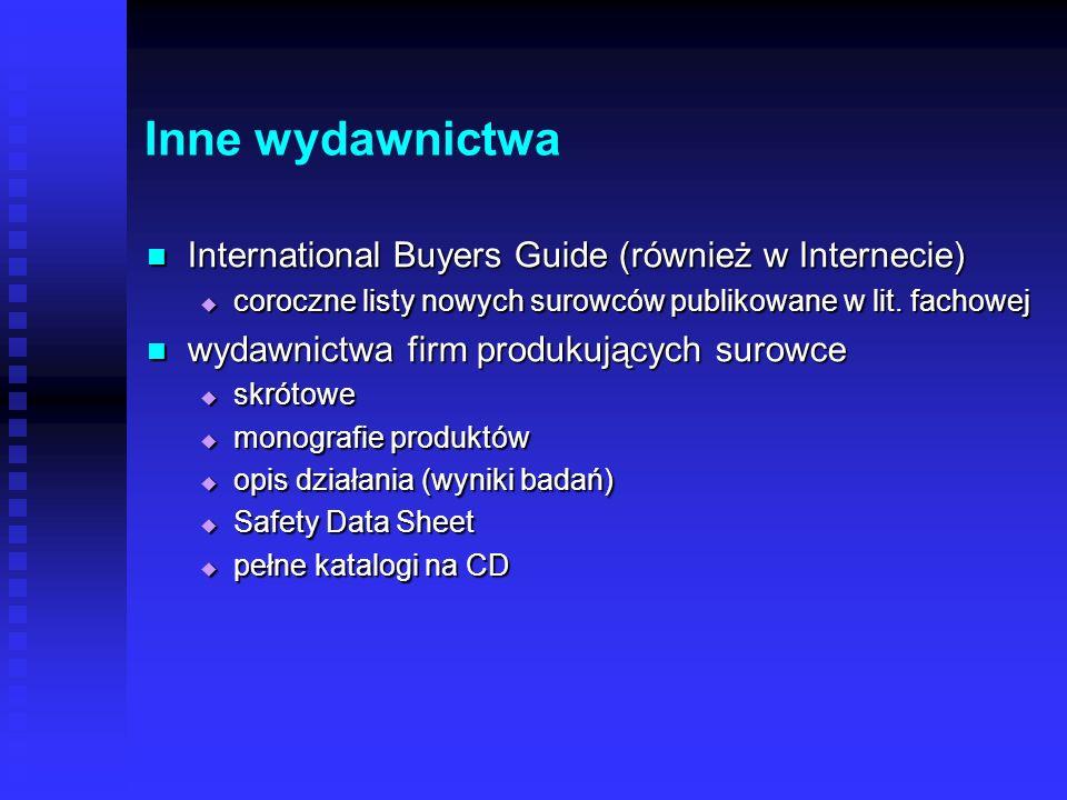 Inne wydawnictwa International Buyers Guide (również w Internecie)
