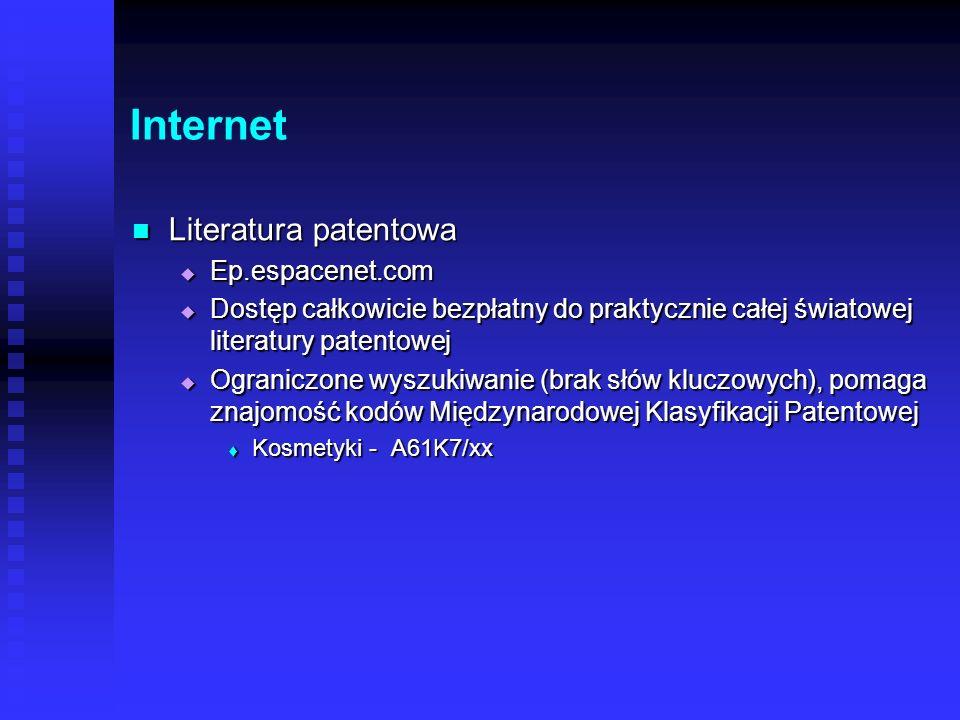 Internet Literatura patentowa Ep.espacenet.com