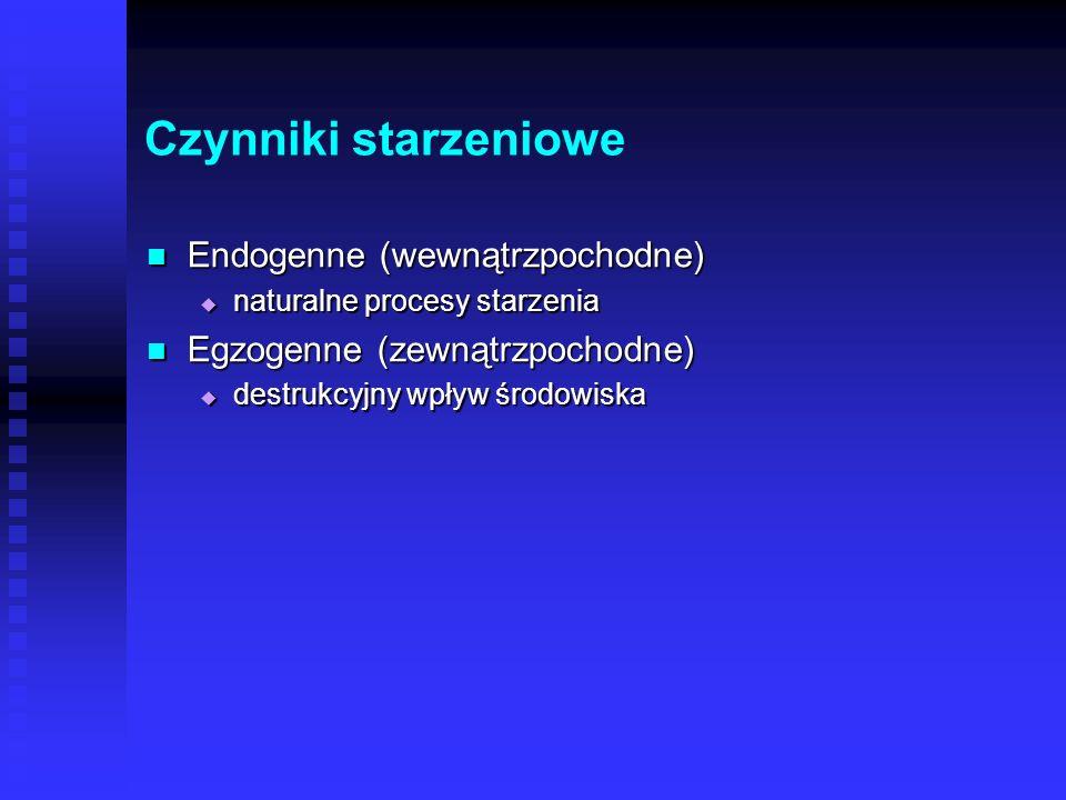 Czynniki starzeniowe Endogenne (wewnątrzpochodne)