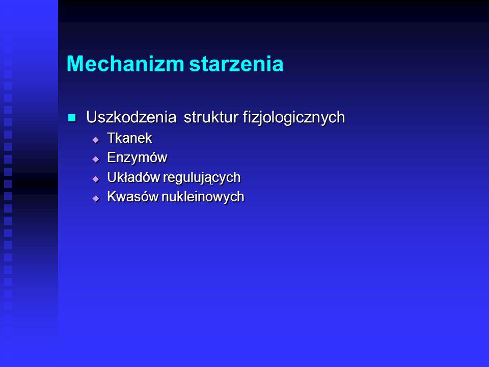 Mechanizm starzenia Uszkodzenia struktur fizjologicznych Tkanek