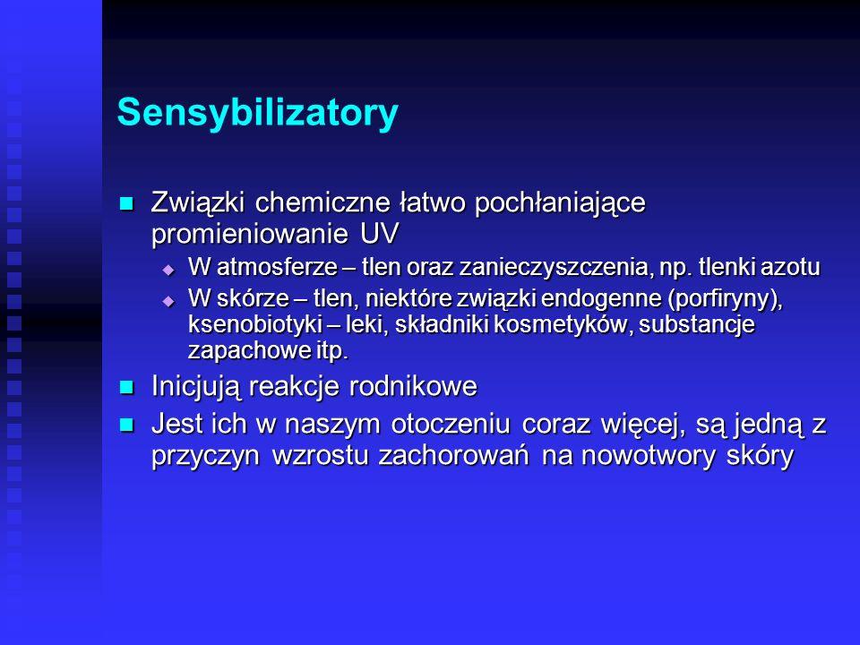Sensybilizatory Związki chemiczne łatwo pochłaniające promieniowanie UV. W atmosferze – tlen oraz zanieczyszczenia, np. tlenki azotu.