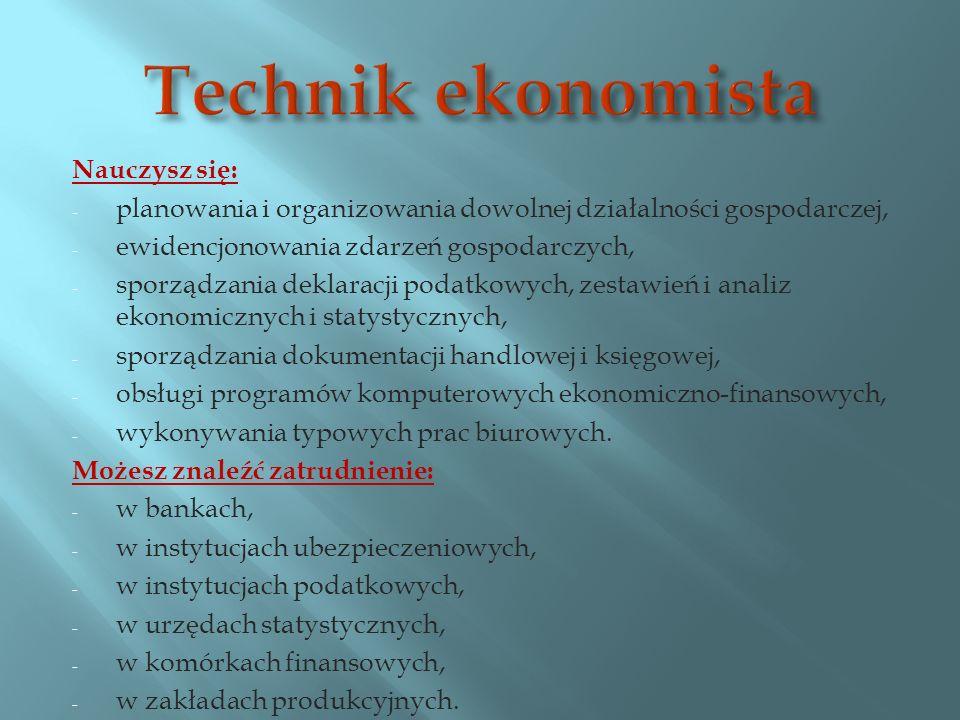 Technik ekonomista Nauczysz się:
