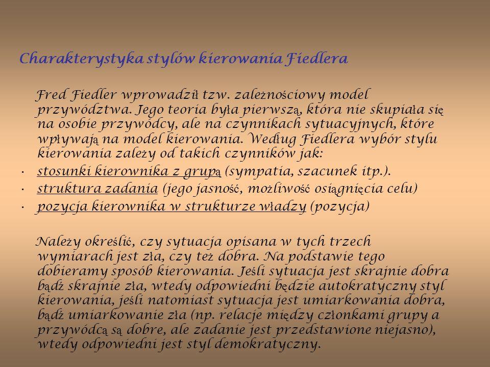 Charakterystyka stylów kierowania Fiedlera