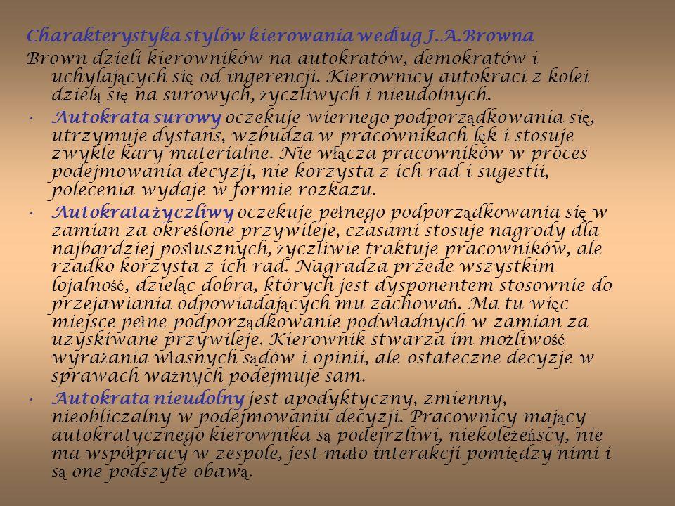 Charakterystyka stylów kierowania według J.A.Browna