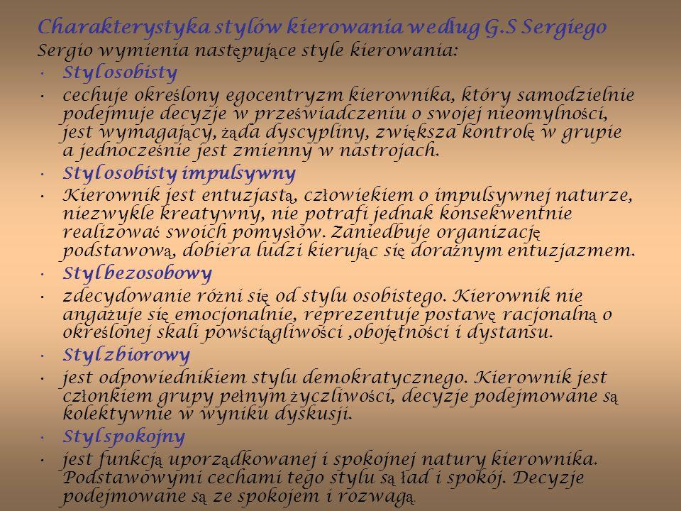 Charakterystyka stylów kierowania według G.S Sergiego