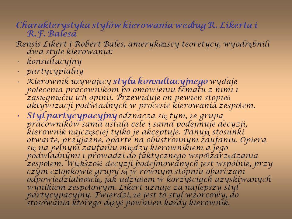 Charakterystyka stylów kierowania według R. Likerta i R.F. Balesa