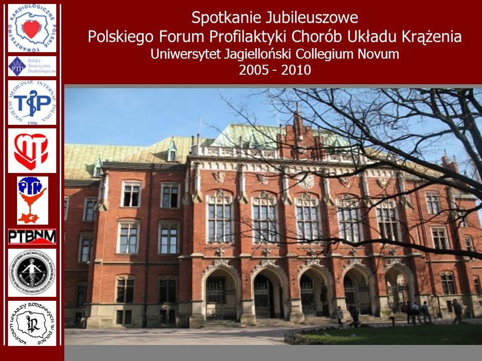 Spotkanie Jubileuszowe Polskiego Forum Profilaktyki Chorób Układu Krążenia Uniwersytet Jagielloński Collegium Novum 2005 - 2010