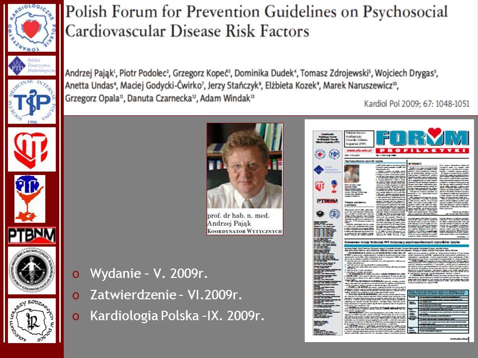 Wydanie – V. 2009r. Zatwierdzenie – VI.2009r. Kardiologia Polska –IX. 2009r.