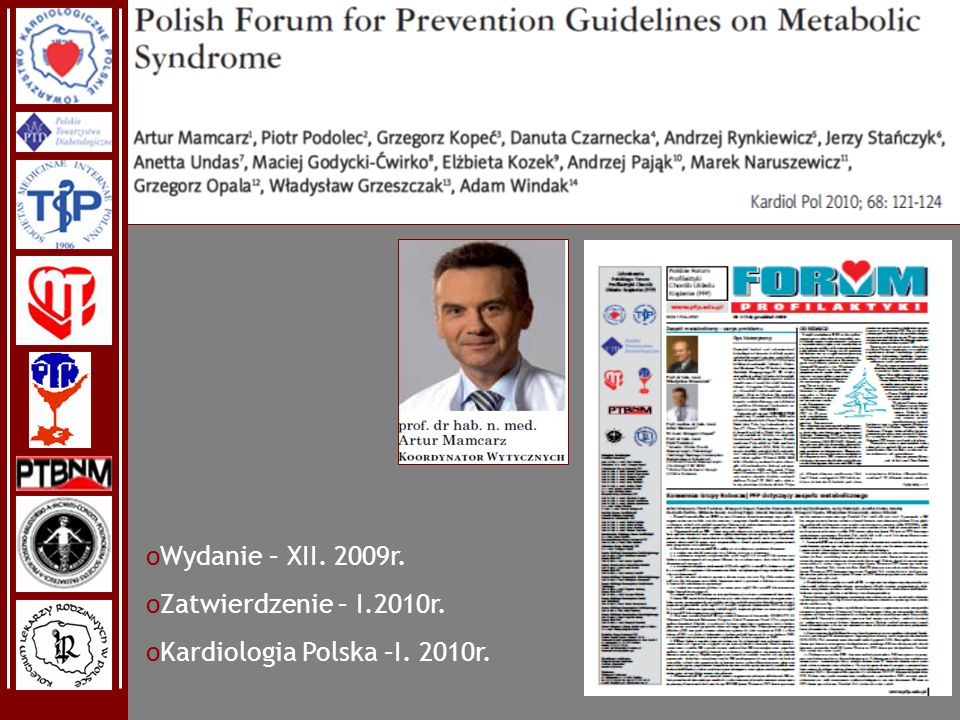 Wydanie – XII. 2009r. Zatwierdzenie – I.2010r. Kardiologia Polska –I. 2010r.