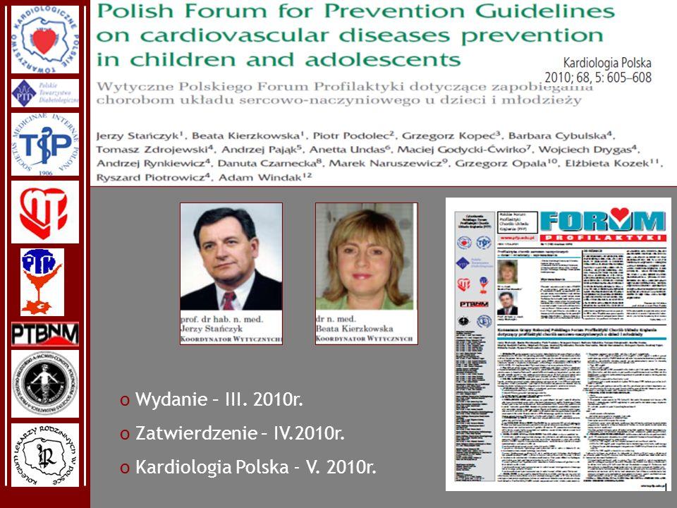 Wydanie – III. 2010r. Zatwierdzenie – IV.2010r. Kardiologia Polska - V. 2010r.