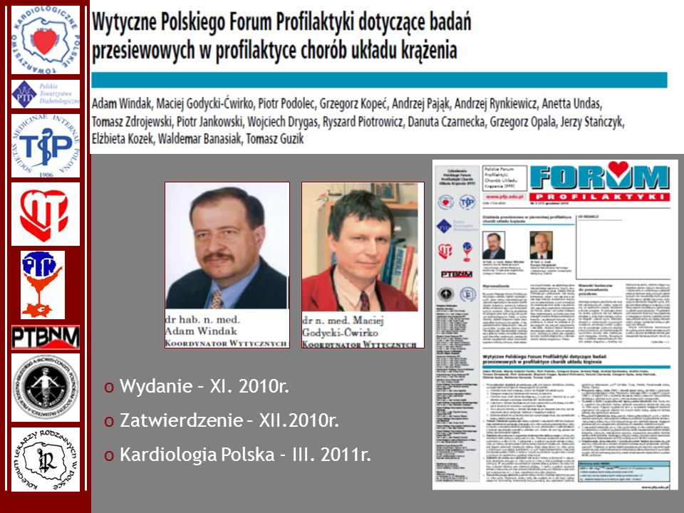 Wydanie – XI. 2010r. Zatwierdzenie – XII.2010r. Kardiologia Polska - III. 2011r.
