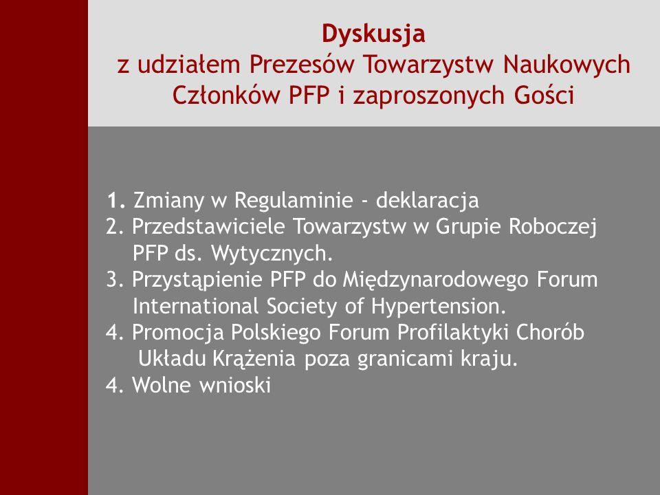 Dyskusja z udziałem Prezesów Towarzystw Naukowych Członków PFP i zaproszonych Gości
