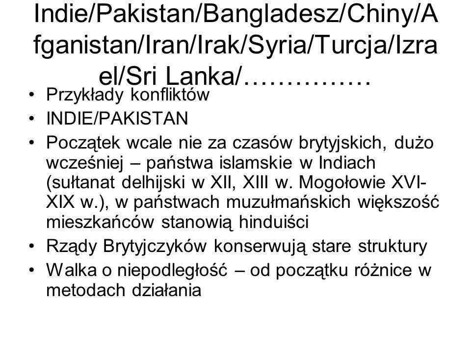 Indie/Pakistan/Bangladesz/Chiny/Afganistan/Iran/Irak/Syria/Turcja/Izrael/Sri Lanka/……………
