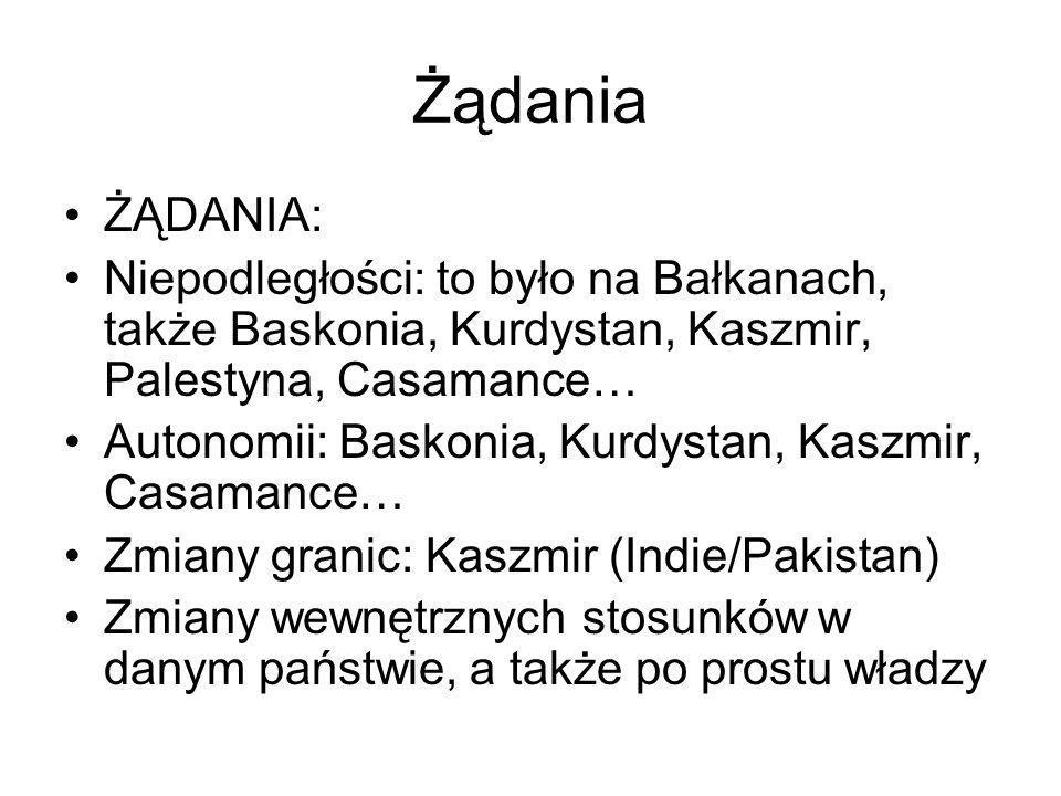 Żądania ŻĄDANIA: Niepodległości: to było na Bałkanach, także Baskonia, Kurdystan, Kaszmir, Palestyna, Casamance…