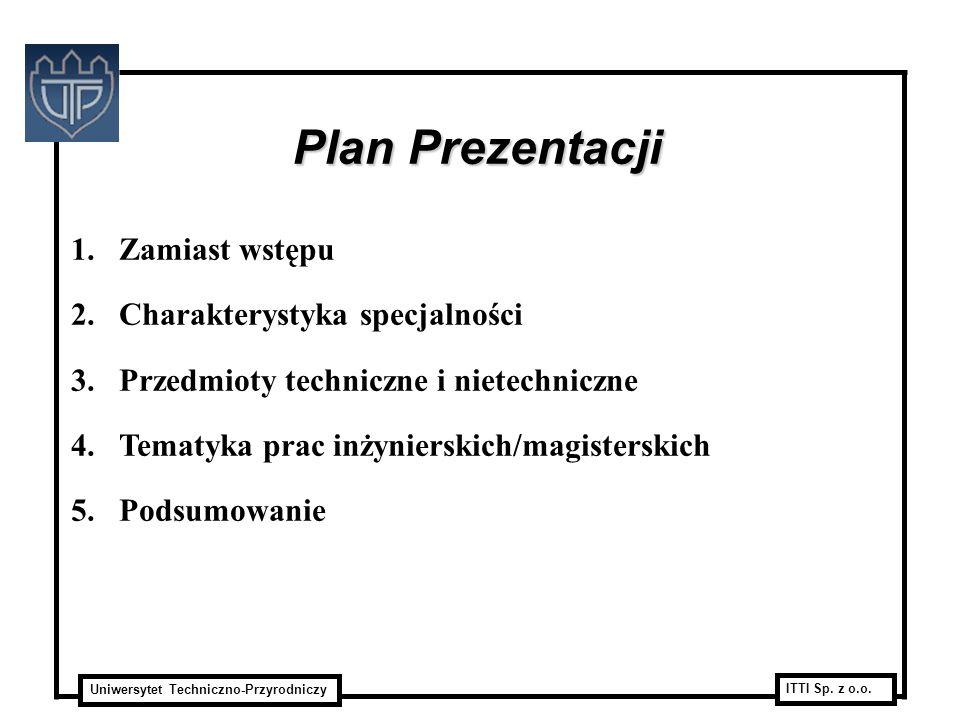 Plan Prezentacji Zamiast wstępu Charakterystyka specjalności