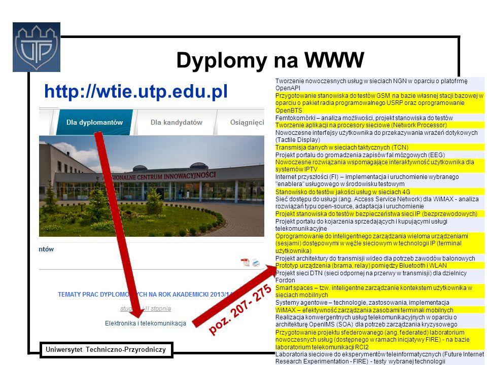 Dyplomy na WWW http://wtie.utp.edu.pl poz. 207- 275