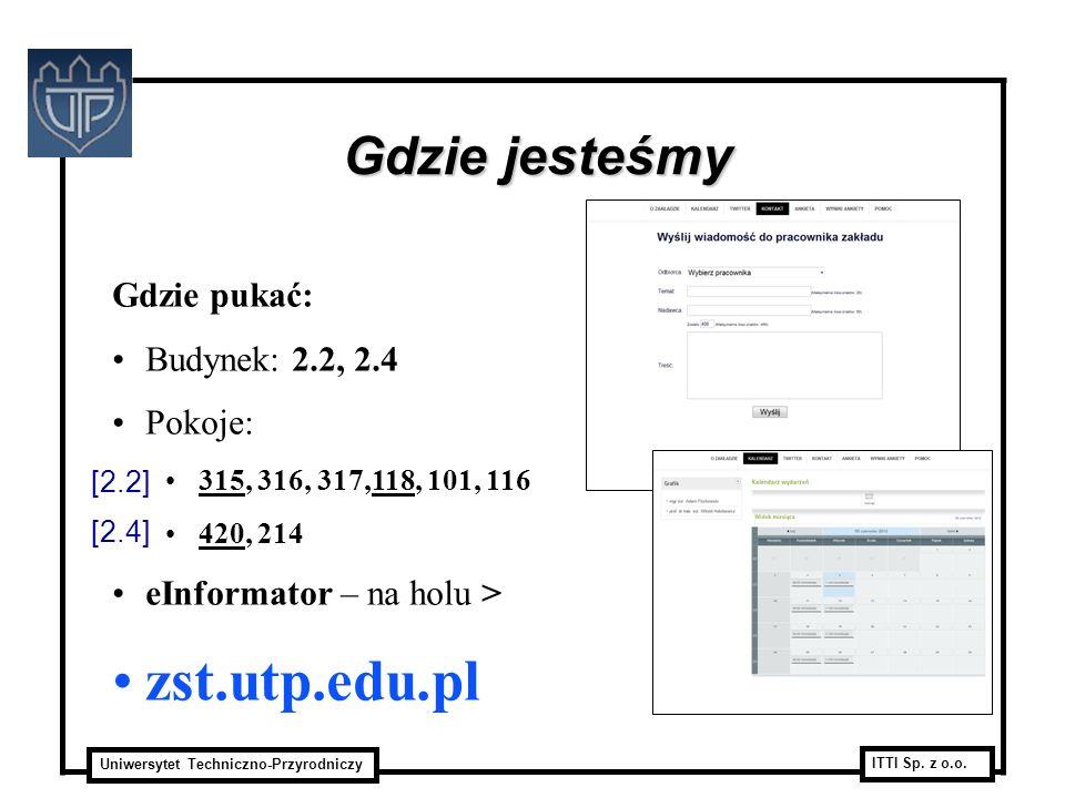 zst.utp.edu.pl Gdzie jesteśmy Gdzie pukać: Budynek: 2.2, 2.4 Pokoje: