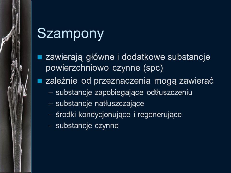 Szampony zawierają główne i dodatkowe substancje powierzchniowo czynne (spc) zależnie od przeznaczenia mogą zawierać.