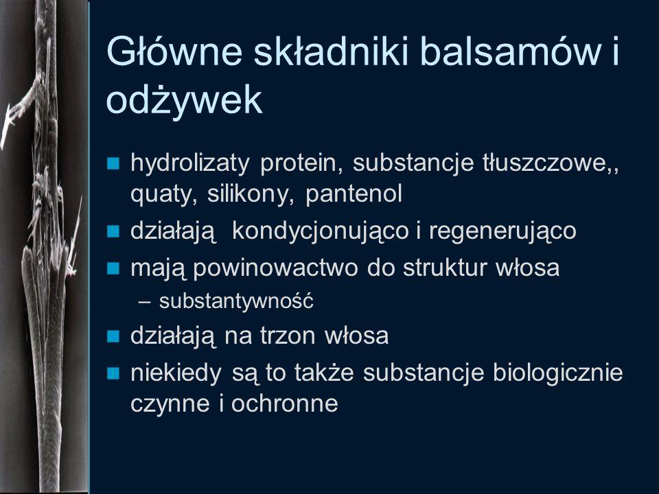 Główne składniki balsamów i odżywek