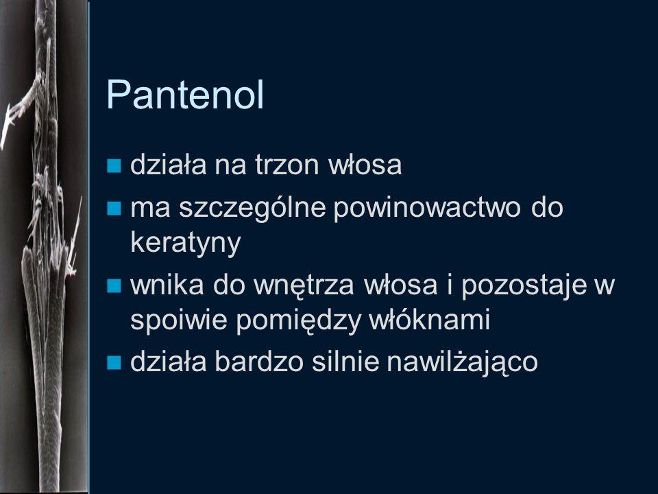 Pantenol działa na trzon włosa ma szczególne powinowactwo do keratyny