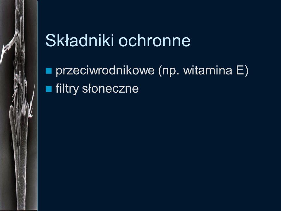 Składniki ochronne przeciwrodnikowe (np. witamina E) filtry słoneczne