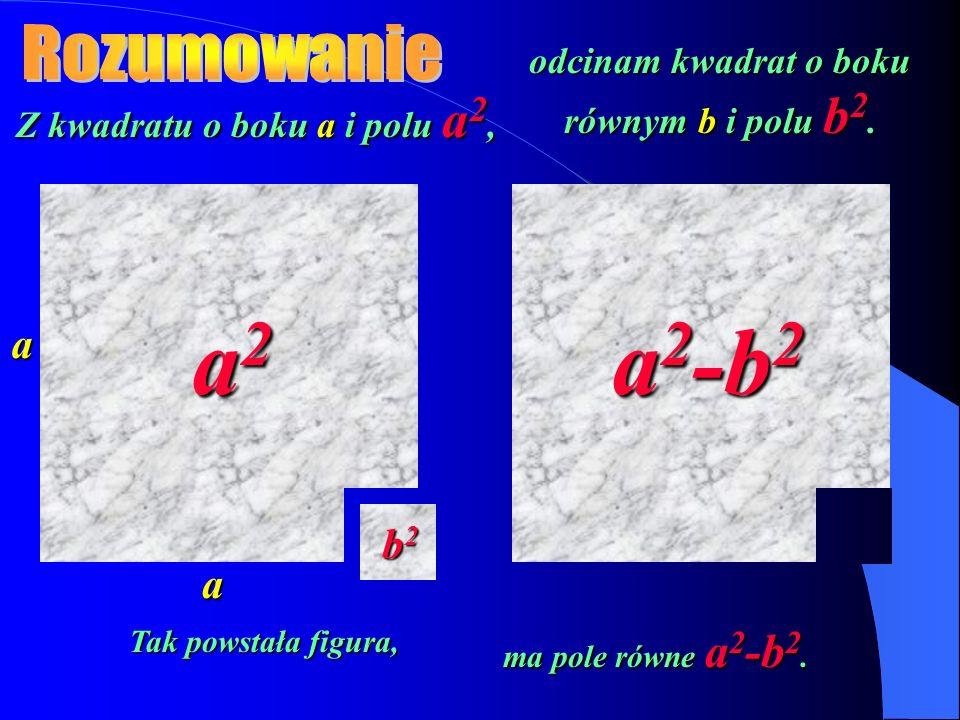 a2 a2-b2 Rozumowanie a b2 a odcinam kwadrat o boku równym b i polu b2.
