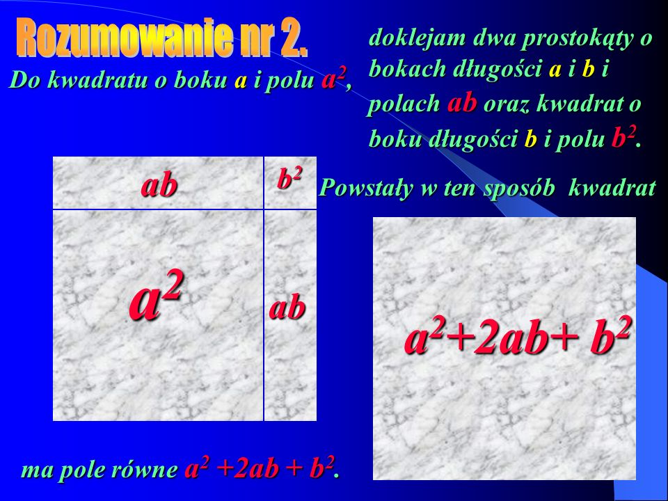 Do kwadratu o boku a i polu a2, Powstały w ten sposób kwadrat