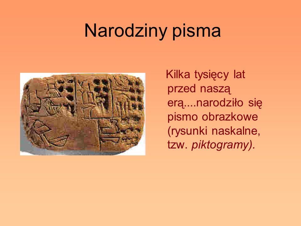 Narodziny pismaKilka tysięcy lat przed naszą erą....narodziło się pismo obrazkowe (rysunki naskalne, tzw.