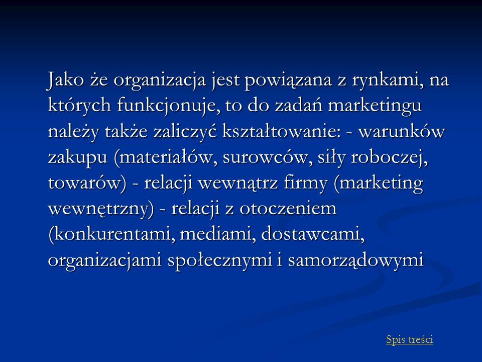 Jako że organizacja jest powiązana z rynkami, na których funkcjonuje, to do zadań marketingu należy także zaliczyć kształtowanie: - warunków zakupu (materiałów, surowców, siły roboczej, towarów) - relacji wewnątrz firmy (marketing wewnętrzny) - relacji z otoczeniem (konkurentami, mediami, dostawcami, organizacjami społecznymi i samorządowymi