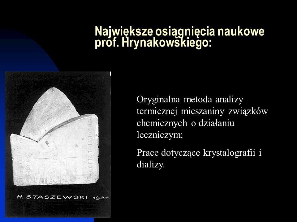 Największe osiągnięcia naukowe prof. Hrynakowskiego: