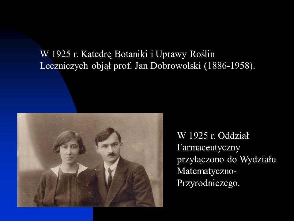 W 1925 r. Katedrę Botaniki i Uprawy Roślin Leczniczych objął prof