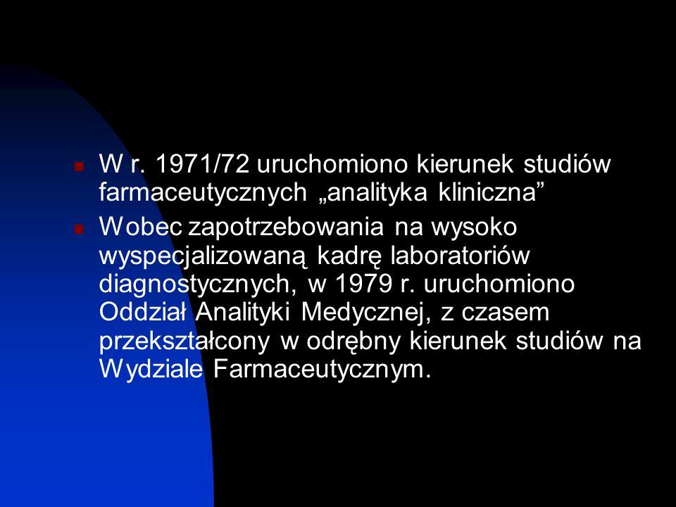 """W r. 1971/72 uruchomiono kierunek studiów farmaceutycznych """"analityka kliniczna"""