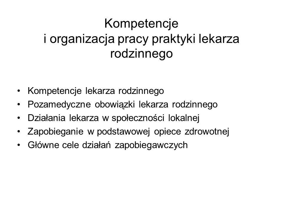 Kompetencje i organizacja pracy praktyki lekarza rodzinnego