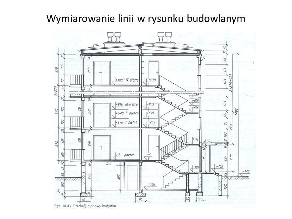Wymiarowanie linii w rysunku budowlanym