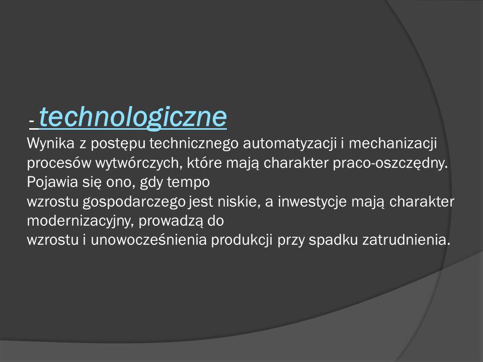 - technologiczne Wynika z postępu technicznego automatyzacji i mechanizacji procesów wytwórczych, które mają charakter praco-oszczędny.