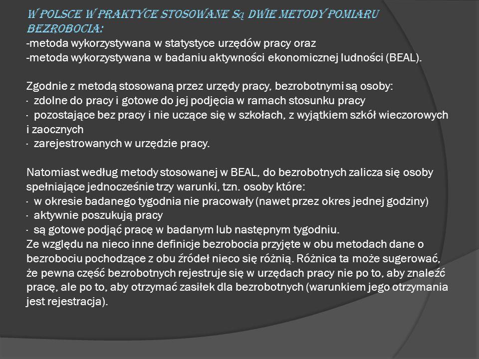 W Polsce w praktyce stosowane są dwie metody pomiaru bezrobocia: -metoda wykorzystywana w statystyce urzędów pracy oraz -metoda wykorzystywana w badaniu aktywności ekonomicznej ludności (BEAL).
