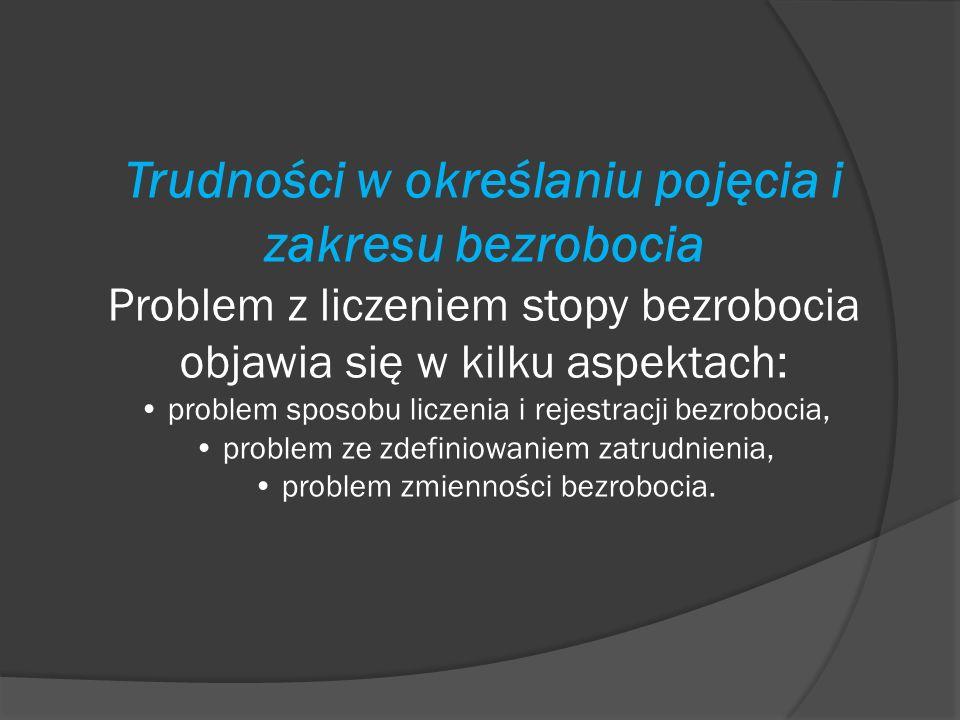 Trudności w określaniu pojęcia i zakresu bezrobocia Problem z liczeniem stopy bezrobocia objawia się w kilku aspektach: • problem sposobu liczenia i rejestracji bezrobocia, • problem ze zdefiniowaniem zatrudnienia, • problem zmienności bezrobocia.
