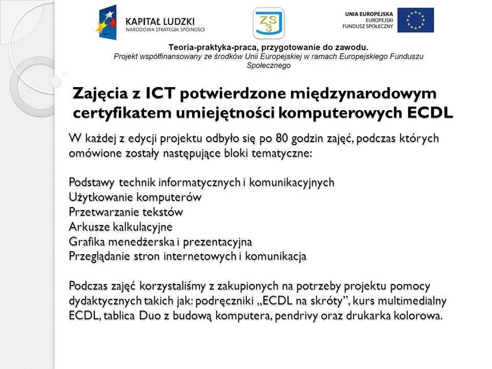 Zajęcia z ICT potwierdzone międzynarodowym certyfikatem umiejętności komputerowych ECDL