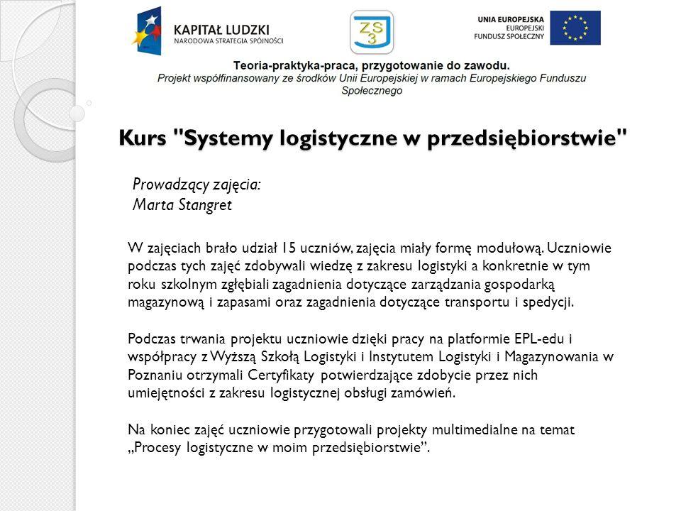 Kurs Systemy logistyczne w przedsiębiorstwie