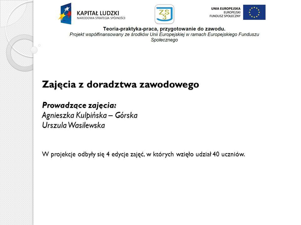 Zajęcia z doradztwa zawodowego Prowadzące zajęcia: Agnieszka Kulpińska – Górska Urszula Wasilewska W projekcje odbyły się 4 edycje zajęć, w których wzięło udział 40 uczniów.