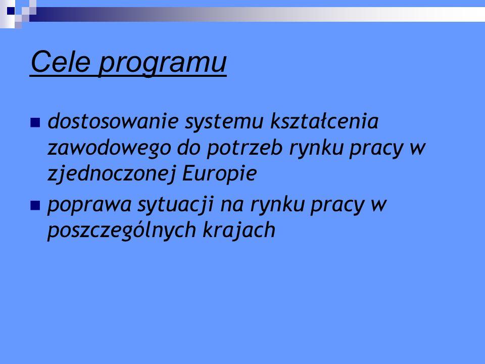Cele programu dostosowanie systemu kształcenia zawodowego do potrzeb rynku pracy w zjednoczonej Europie.