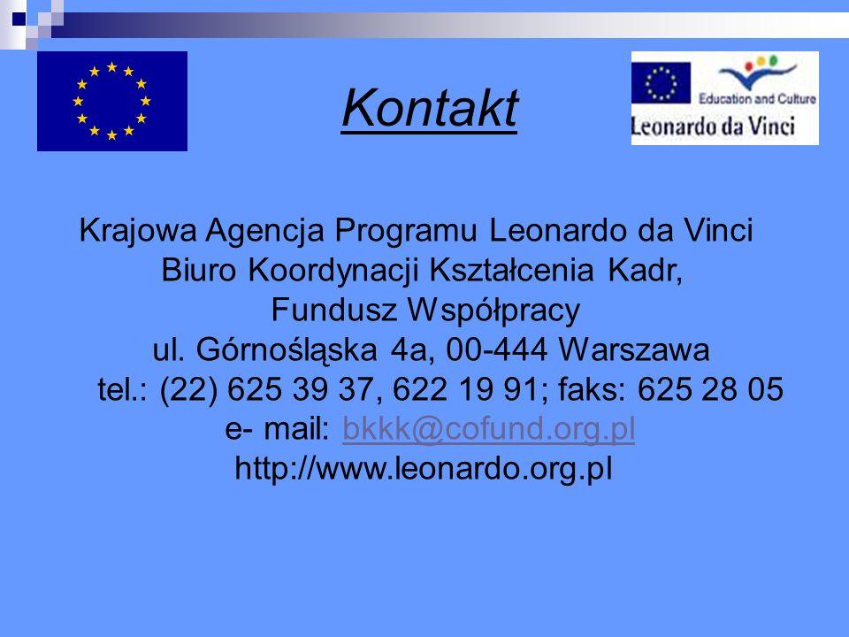 Kontakt Krajowa Agencja Programu Leonardo da Vinci
