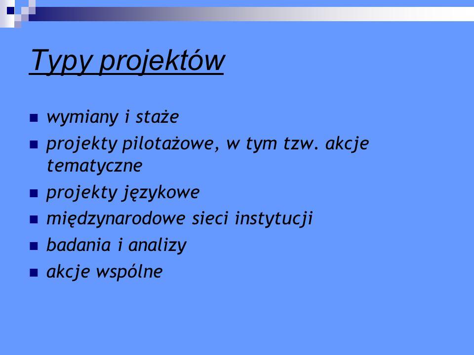 Typy projektów wymiany i staże