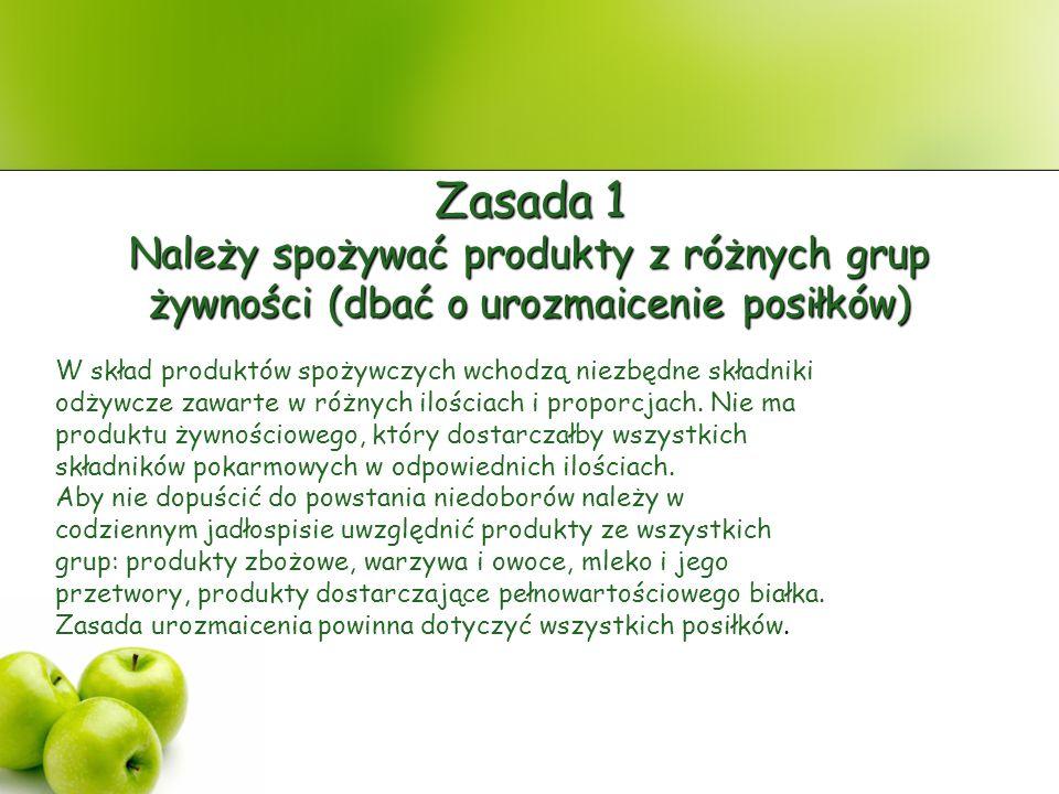Zasada 1 Należy spożywać produkty z różnych grup