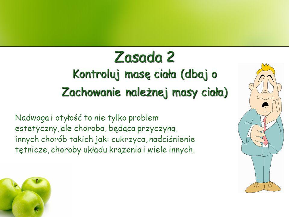 Zasada 2 Kontroluj masę ciała (dbaj o Zachowanie należnej masy ciała)